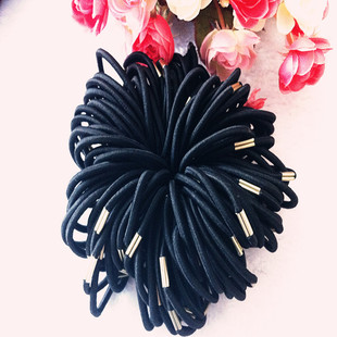 4mm metal horse buckle rubber band elastic black rubber band hair tie factory direct supply hair rope