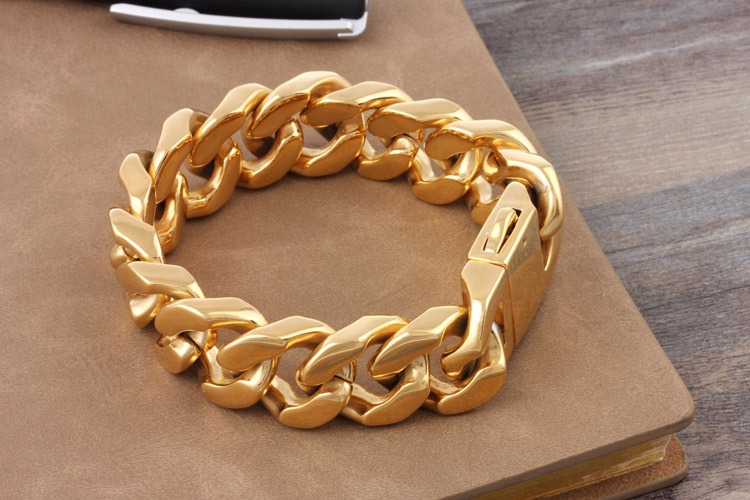 20mm Wide Heavy Punk Gold Curb Cuban Bracelet Men High Quality