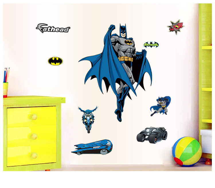 superhero batman wandtattoo wandaufkleber spielzimmer kinderzimmer wandbild ebay. Black Bedroom Furniture Sets. Home Design Ideas