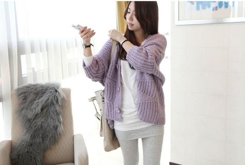 7120#新款東大門韓版針織寬松紫色開衫休閑毛衣外套【1件起批】