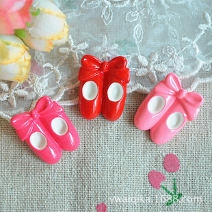 DIY children's hair accessories materials, resin accessories, pink and cute bow ballet shoes