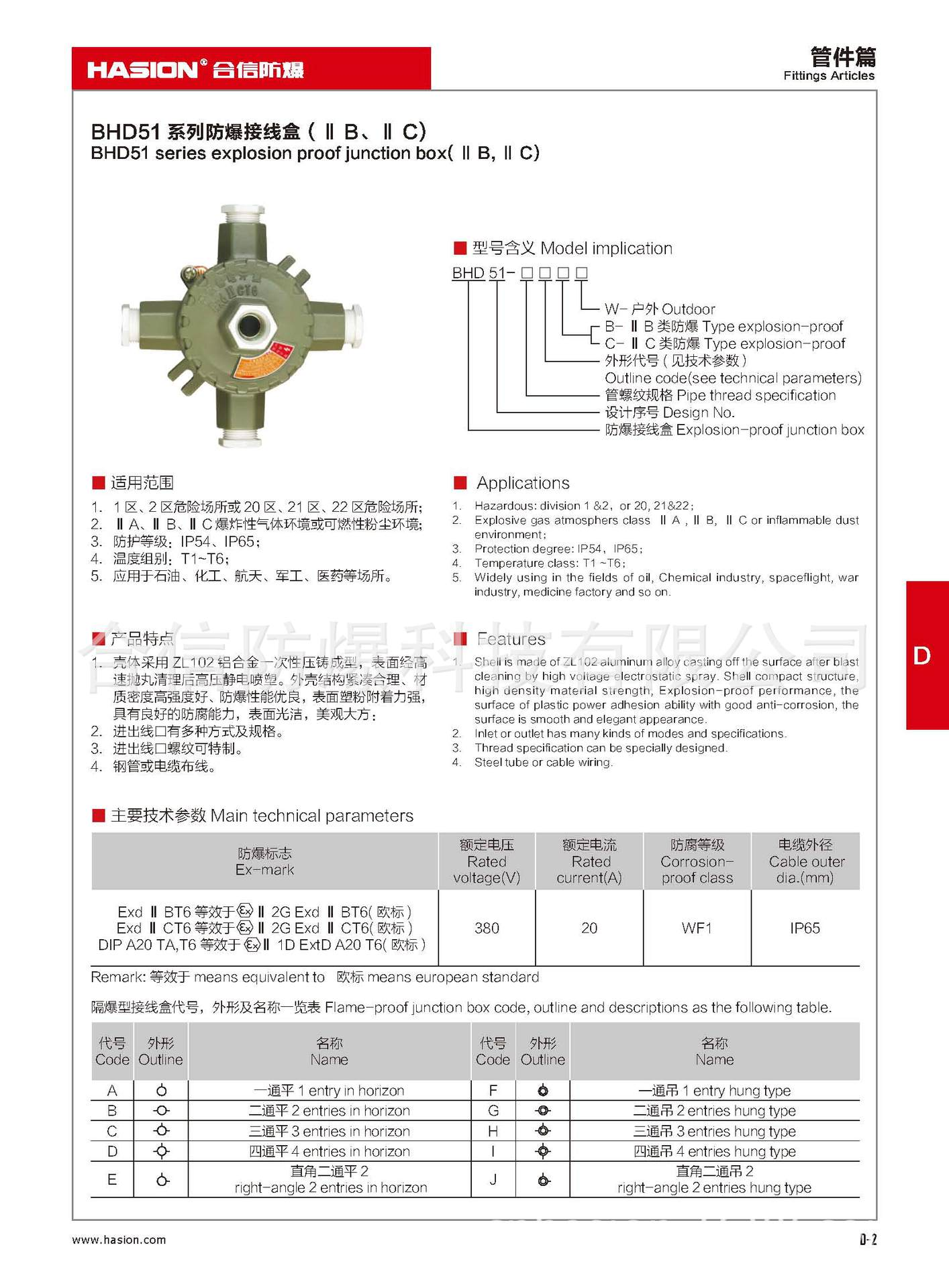 BHD51系列防爆接線盒(IIB、IIC)