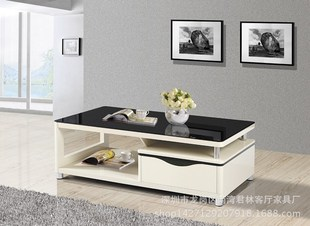 The whole nation enrols business tea table of 1.35 black and white toughened glass board type is con