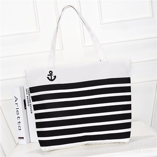 2016 new female bag factory direct supply wholesale horizontal stripe bag multi-color canvas bag is very strong
