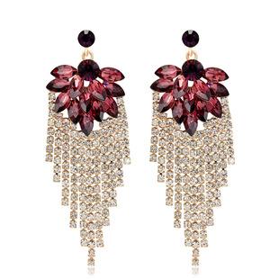 New European and American wedding exaggerated earrings shiny rhinestone earrings bridal pendant earrings Danby Jewelry Wholesale