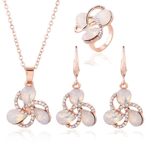 Rose Gold Temperament Ring Necklace Earring Set Duoxin Opal Earring Jewelry Set Female Three-piece Set