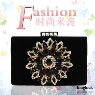 Fine velvet bridal bag diamond banquet bag clutch bag wedding bag bridesmaid bag dress bag diagonal bag fashion female bag