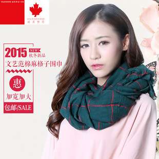 Balinese plaid scarf check cotton and linen scarf wishful plaid fringed plaid scarf foreign trade manufacturer