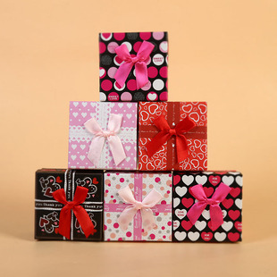 Jewelry box, paper gift box, ring earring box, bow-knot gift packaging, small square box manufacturer wholesale