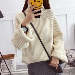 2019 autumn Korean version of the new women's pure color fashion high-neck long-sleeved loose and thin irregular women's sweater