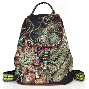Bag female 2019 new original ethnic embroidery bag embroidered peacock canvas backpack