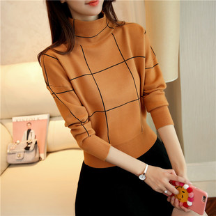 2020 autumn and winter new Korean fashion half turtleneck sweater women's pullover short thick loose slim knit sweater