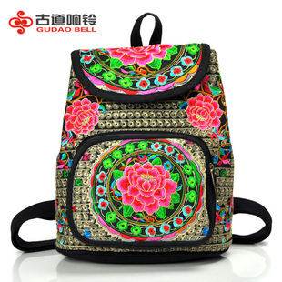 New Yunnan ethnic style embroidered bag, canvas embroidered backpack, shoulder bag, flower embroidery, student school bag
