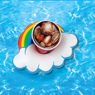 Manufacturers stock i cloud cup holder rainbow cup holder inflatable water coaster floating drinks