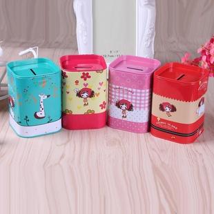 Creative cute children piggy bank metal crafts tinplate square piggy bank cartoon piggy bank wholesale