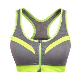 Shockproof sports bra without steel ring fitness female professional gathering yoga vest-style front zipper running sports underwear