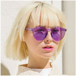 2021 cross-border new style frameless transparent personality one-piece lens European and American sunglasses ladies color fashion sunglasses