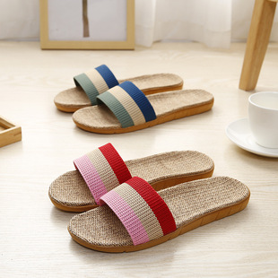 Linen slippers home couple indoor slippers wood flooring cotton and linen home non-slip thick bottom summer sandals and slippers for men and women