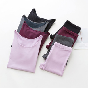 Winter warm women's underwear set, round neck bottoming, long-sleeved warm clothes, women's solid color autumn clothes and long trousers