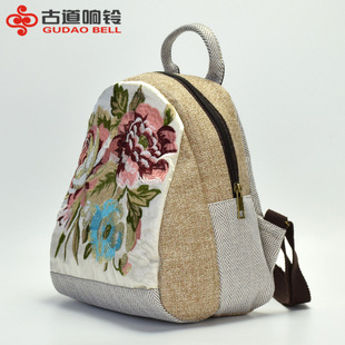 Original new college ethnic style embroidered linen backpack female small bag simple embroidery student backpack