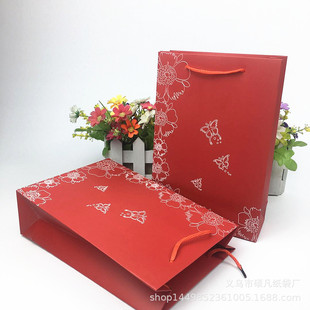 High-end red butterfly jewelry tote bag, pearl bracelet bag, jewelry gold jewelry box, paper bag customization