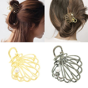 Factory direct sales hair accessories ins hairpin grasping clip European and American alloy hollow pearl shell hairpin headdress factory wholesale