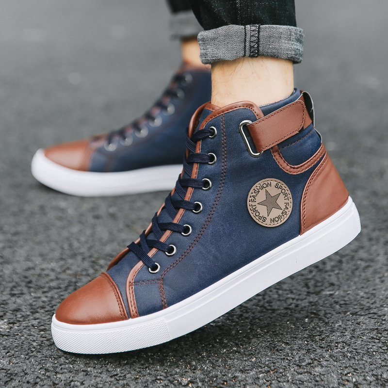 2020 autumn and winter new retro trendy shoes British short boots men's high-top shoes Korean style trendy men's high-top shoes