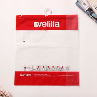 Portable hook garment bag, pe clothes towel viscose ziplock packaging bag can be customized, large quantity is preferred