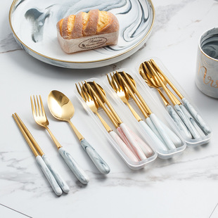 Nordic marbled cutlery set stainless steel titanium fork spoon chopsticks portable cutlery box set gray pink