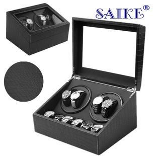 Spot wholesale 4+6 black leather electric shaker motor watch box electric automatic winding watch box
