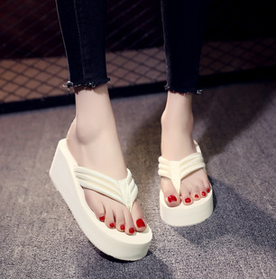 Summer thick-soled cloth with flip flops female large size handmade DIY sandals and slippers non-slip high-heeled beach shoes wholesale