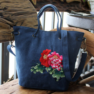 Gudao Bell 2018 new Chinese style embroidered bag pure color embroidered canvas ladies portable diagonal dual-use bag
