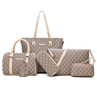 2021 new European and American fashion trend hit color one-shoulder diagonal portable picture and mother bag six-piece large-capacity female bag