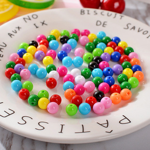 DIY handmade beaded accessories material 6mm acrylic solid dispersion beads round beads candy color colorful beads