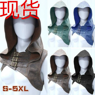 Leather Cape Retro Gothic Style Sleeveless Hooded Leather Hoodie Fashion Cosplay Costume