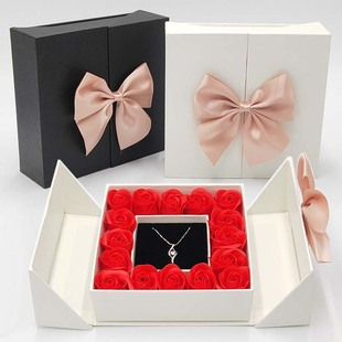 16 Rose Flower Box Double Door Jewelry Box Preserved Flower Lipstick Box Bow Jewelry Gift Box Necklace Box