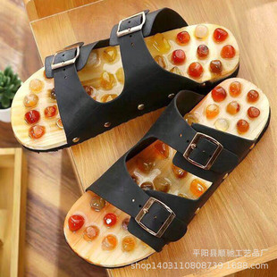 Home PVC Waterproof Agate Stone Massage Slippers Acupoint Foot Massage Shoes Bathroom Non-slip Indoor Sandals and Slippers Men and Women Summer