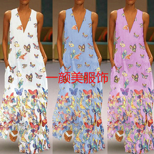 2019 Spring New Products Women's Summer Butterfly Printed Bohemian Beach Dress V-neck Sleeveless Long Skirt Extra Large