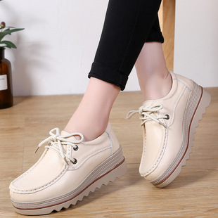 Korean style lace-up rocking shoes women's thick-soled hollow height-enhancing shoes women's casual single shoes breathable wedges mother shoes