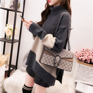 Turtleneck color matching sweater women 2020 new lazy style outer wear all-match bottoming shirt autumn and winter loose thick sweater women