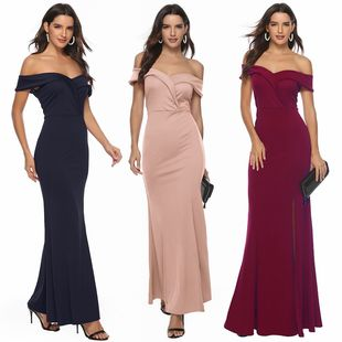 Amazon foreign trade cross-border women's clothing explosion models Europe and the United States new V-neck split dress banquet evening dress long skirt