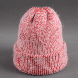 Cross-border double-layer thickening rabbit fluffy warm woolen hat women's autumn and winter retro wild ear protection knitted hat Korean