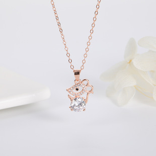 New Zodiac Mouse Sterling Silver Necklace Korean Cute Little Mouse Pendant Clavicle Chain SpongeBob Gift Jewelry Set