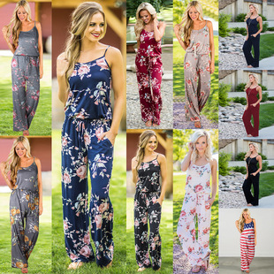 2020 spring and summer new products fashion trend suspender printed loose women's jumpsuit 0444#