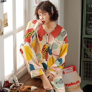 Cardigan cute cartoon ladies pajamas autumn and winter pure cotton long-sleeved casual loose cotton home service suit autumn