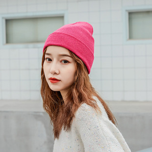 Autumn and winter outdoor pure color wild hedging wool hat tide men and women curling casual street warm light board knitted hat
