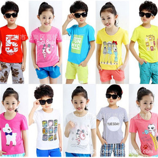 Children's clothing foreign trade tail goods stalls 1-5 yuan Summer children's short-sleeved t-shirts running rivers and lakes stalls supply hot selling children's t-shirts