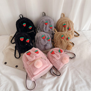 Winter chic casual small furry bag female 2019 new Korean fashion western style school bag backpack