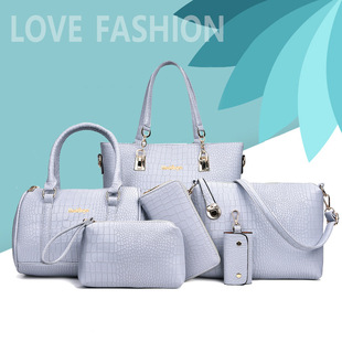 2019 new European and American fashion luxury atmosphere high-end stone pattern six-piece PU mother-in-law bag one-shoulder portable female bag