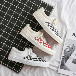 VASIBAEN Wansba checkerboard Korean version ins skateboard student canvas shoes female casual student couple cloth shoes